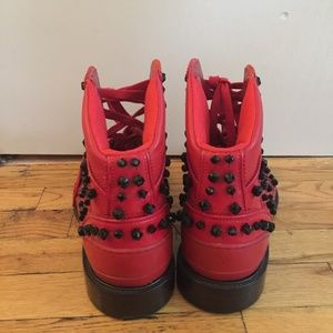 Givenchy Shoes - GIVENCHY Men's Red High Sneakers w/ Stones size 44